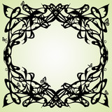 Abstract frame stylized on secession with butter-flies poster