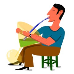 seated man drinks of a giant cocktail cup