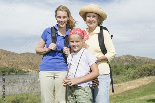Mother, daughter and grand-daughter on activity holiday, portrait