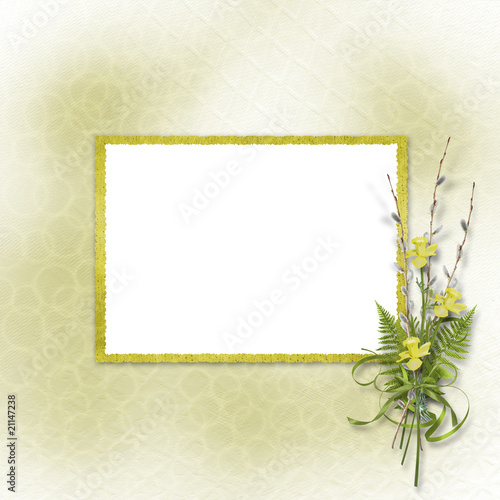 Card for invitation or congratulation with bunch of willow and n