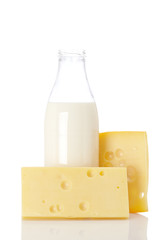 Cheese and milk bottle