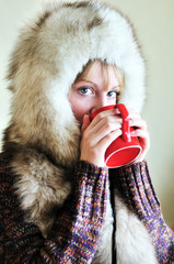 drinking winter girl