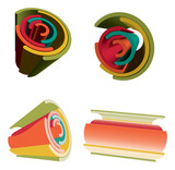 Sets Of 3D Abstract Futuristic Vibrant Color Rainbow. poster