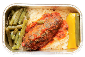 Meat and rice - inflight meal