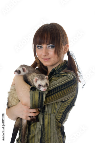 girl with two domestic polecats