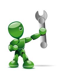 Robot avec une clef à molette