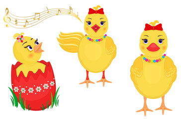 Easter design elements with three cute chicks.