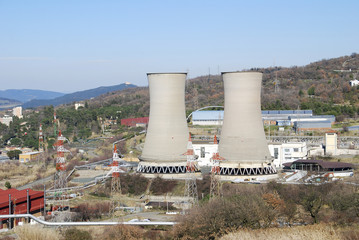 Geothermal power plant in Larderello (Tuscany - Italy)