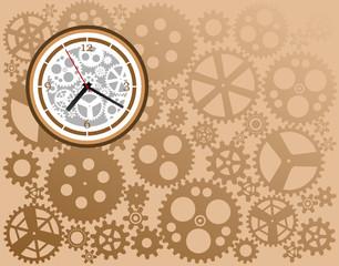 Clock whit gears, vector illustration