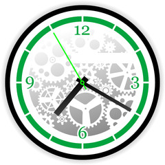 Abstract clock whit gears, vector illustration