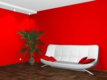 Projektowanie wnętrz z białego na czerwony mur kanapie