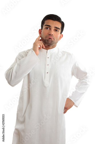 Worried troubled ethnic man wearing a kurta