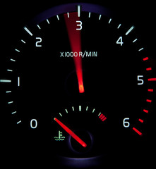 Acceleration - close-up view of a revolution counter tachometer