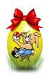 Bemaltes Ei mit Schleife