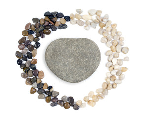 Heart shaped stones on white background