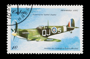 Cuban mail stamp featuring an RAF spitfire aircraft
