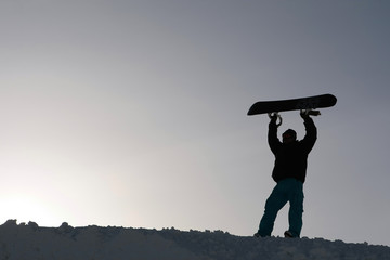 snowboarder with board