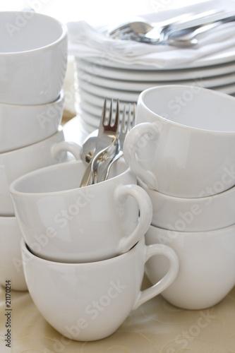 Leinwanddruck Bild Kaffeegeschirr