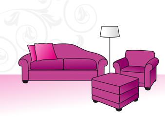sofás violetas