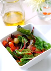 vegetable salad with fish pieces