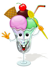 Coppa Gelato-Ice Cream Cup-Coupe de Glace-Cartoon