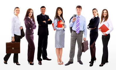 Business people and team. Isolated over white background.
