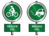 Environmental reduce CO2 signs mounted on post poster