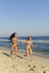 holiday fun: two girls having a racing duel