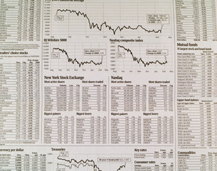 Stock Market Newspaper Background with Charts Business Abstract