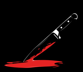 Vector Series. sharp knife on black background