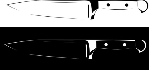 Vector Series. sharp knife black and white background