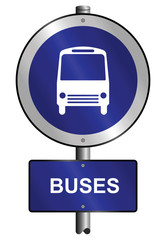 Buses graphic and text information sign mounted on post
