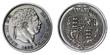 Macro of an old British George III silver shilling