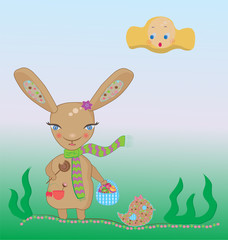 easter rabbit with a basket