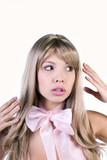 Pretty woman pretending to be a Barbie doll poster