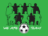 Soccer team players with ball over green field poster