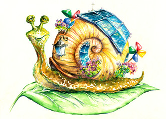 Snail in eco-house.My own watercolor painting.