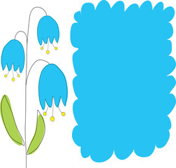 Background with blue flowers . Vector illustration