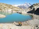 Lac Blanc, refuge et massif du Mont Blanc poster
