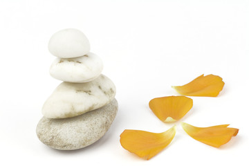 wellness and spa: petalss,pebbles stack, zen still life, isolate
