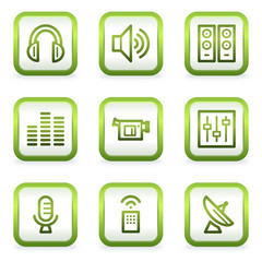 Media web icons, square buttons, green contour