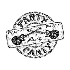 Party grunge rubber stamp with crossed guitars
