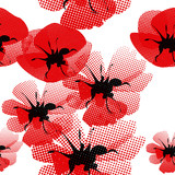 floral seamless pattern with poppy