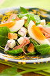 salad with spinach,egg and ham