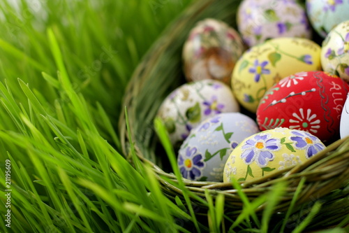 Plexiglas Egg Easter egg in wicker basket