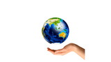 Multiracial Hands Surrounding the Earth Globe poster