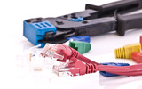Closeup of crimping tool for RJ-45 and Cat5 cable jacks poster