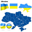 Ukraine vector set. Shape, flags and icons.