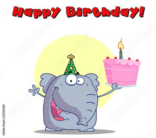 Happy Elephant Holds Birthday Cake