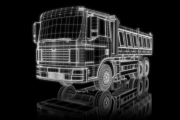 Dump truck - perspective 3d construction